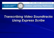 Transcribing a Soundtrack Audio File Manually Using Express Scribe