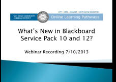 What's New in Blackboard Service Pack 10 and 12? (Flex #74136, Summer 2013)