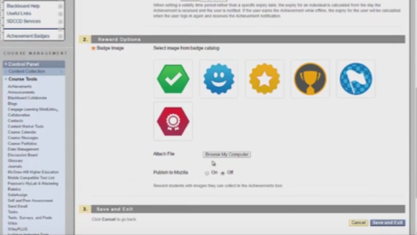 Achievement badges in Blackboard