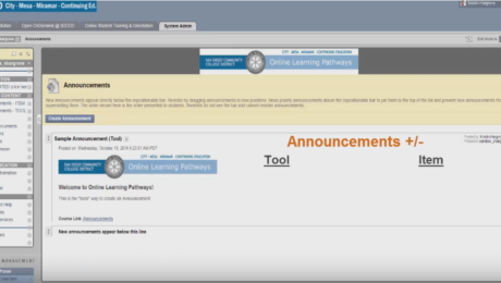 Announcements in Blackboard